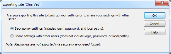 This dialog box lets you back up your settings or share them (minus your login information) with other people.