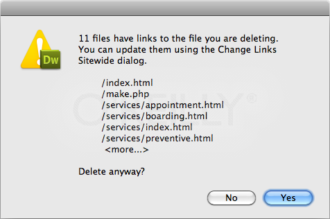 "When you delete files in the Files panel, Dreamweaver tells you if other pages reference (link to) the file. If they do, you'll need to repair the links. Dreamweaver makes it easy to do so via the Change Links Sitewide command (see ""Changing a Link Throughout a Site"" on page 678)—and it reminds you of the feature in this dialog box."