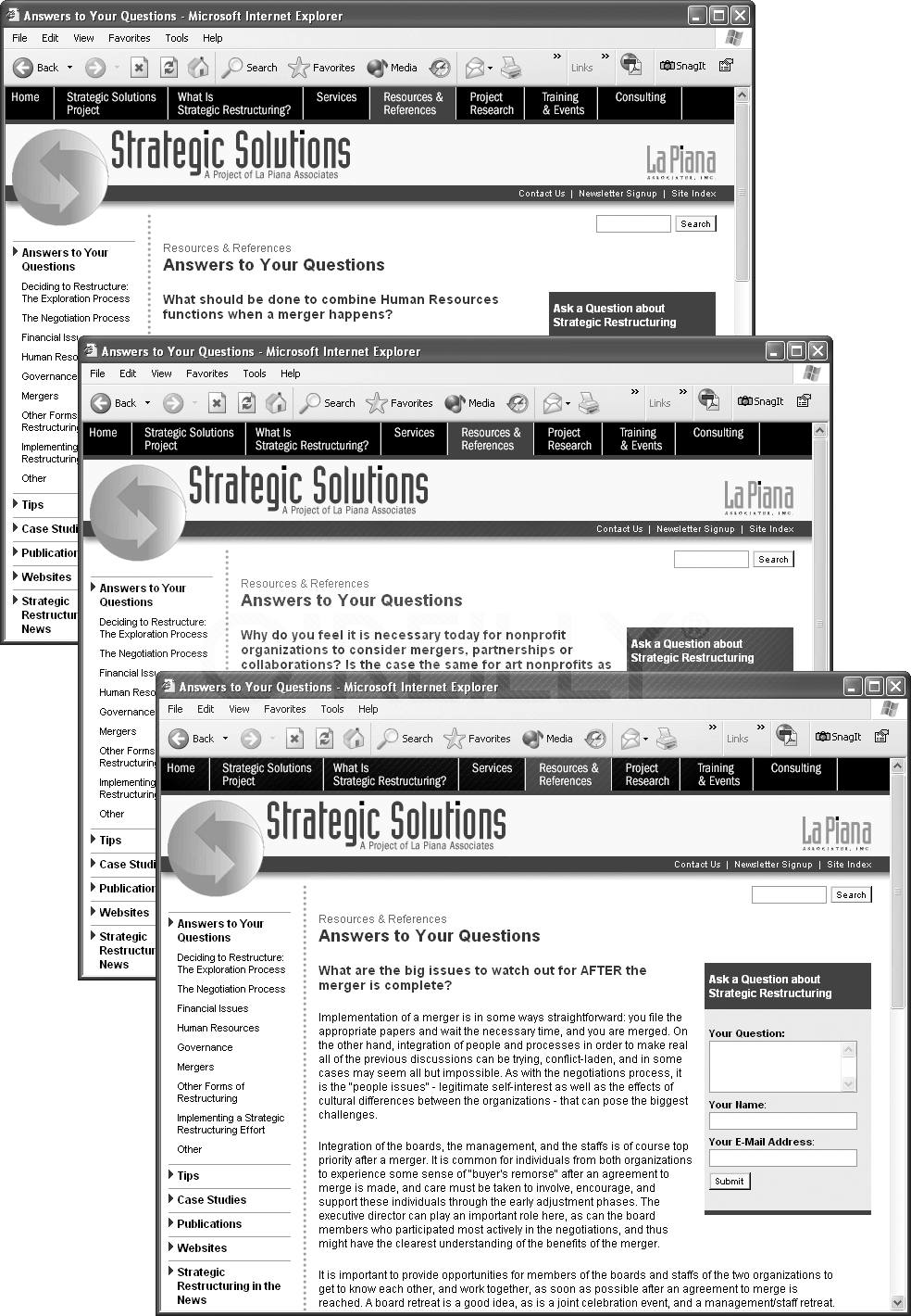 These three web pages are part of a section of a website dedicated to answering frequently asked questions. The pages each provide the answer to a different question, but are otherwise identical, sharing the same banner, navigation buttons, sidebar, and footer. Why rebuild the design for each one? Enter one of Dreamweaver's greatest timesaving features&#x2014;Templates&#x2014;which help you quickly build similar-looking pages, and make updating page designs a snap.