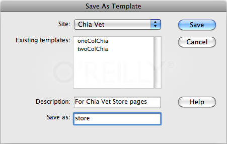 The Save As Template dialog box lets you save your template into any of the local site folders you defined in Dreamweaver. Stick to your current local site to avoid broken links and similar problems.