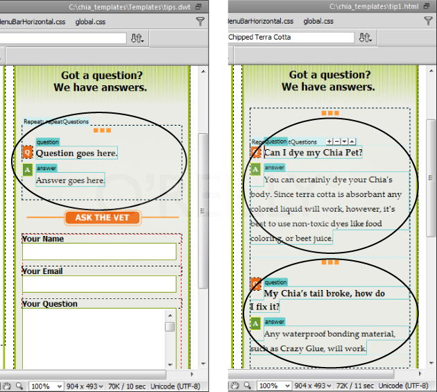 "A repeating region lets page authors add multiple instances of repeating information. Left: In this template, you see a repeating region, labeled ""repeatQuestion"" (circled).Right: A complete page based on this template includes two repeated editable regions (circled). If another page requires more question/answer pairs, you can easily add additional ones to each list by clicking the + button at the top of the repeating region in the template-based page (right). Even with the ability to dictate how many repeating regions appear on a template-based page, the master template still controls the page's basic design. That means page authors can't change the repeating region's underlying HTML—for example, they can't change the ""Q"" to ""Question or the ""A"" to ""Answer"" because both these elements reside in the uneditable part of the template page. If you, however, go into the master template and make these changes, Dreamweaver automatically changes the same elements in all the pages the template created."
