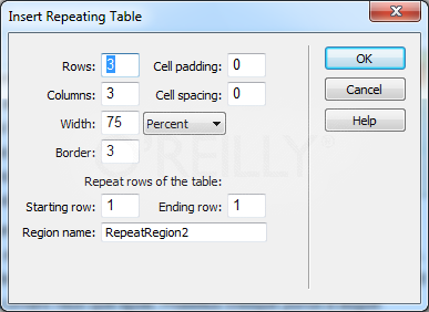 The Insert Repeating Table dialog box lets you kill three birds with one stone: it adds a table to a page, turns one or more rows into a repeating region, and adds editable regions into each table cell inside the repeating region.