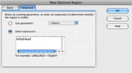 "The New Optional Region box lets you more precisely control the display of an optional region. You can make the region appear only when another region is visible, or use Dreamweaver's template expression language to create a more complex behavior. In this case, the selected region appears only when another region—named ""kittyHead""—is not visible (the ! is the programming equivalent of ""is not"")."