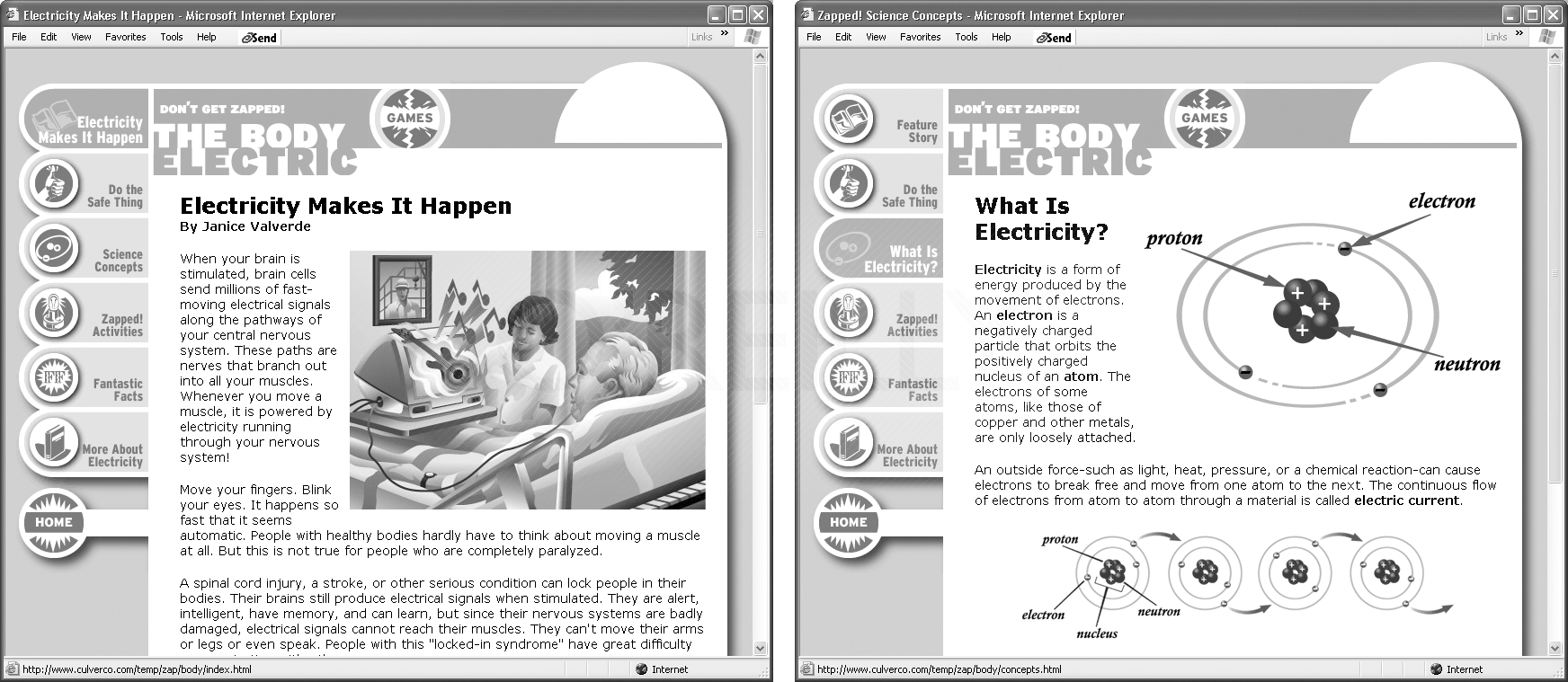 """An optional region on the page at left highlights the top navigation button (Electricity Makes It Happen). By turning on a different optional region (right), the navigation system can highlight the site's current section—""""What is Electricity?"""" (the third button from the top)."""