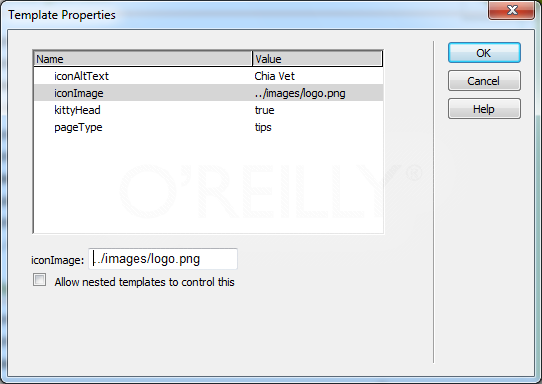"The Template Properties window lets you control editable tag attributes and other parameters for optional regions. Depending on which parameter you select, the options at the bottom of the window change. In this case, the src property of an image tag has been made editable. To change the image tag's src property, click Dreamweaver's familiar ""Browse for File"" button and select a new graphic file."