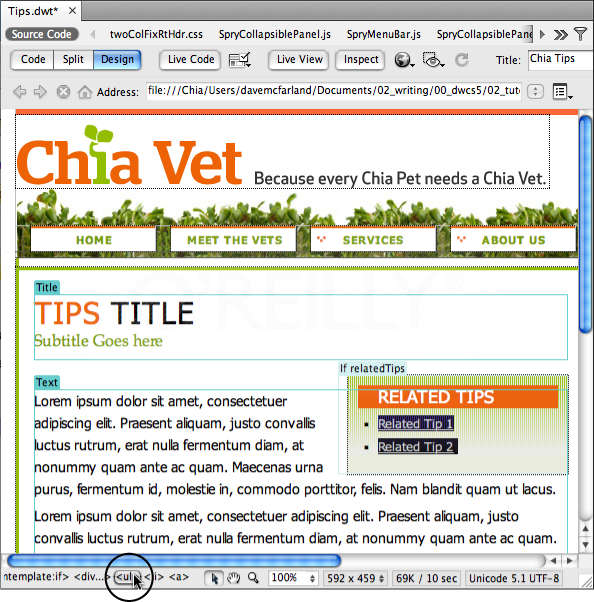When you create optional, editable, and repeating template regions, the Tag selector is your best friend. Click a tag (<ul> in this case) to accurately select a piece of content. You'll also see Dreamweaver-specific tags listed on template files. Here, <mmtemplate:editable> indicates the editable region you created in step 13. Because the <ul> tag appears to the right of the <mmtemplate:editable> tag, you know that page authors can edit and change the <ul> tag and everything inside it when they create template-based pages.