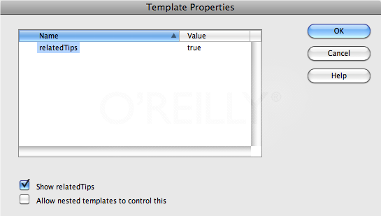 The Template Properties window does double duty. It let you hide or show optional regions, and it lets you set values for editable tag attributes.