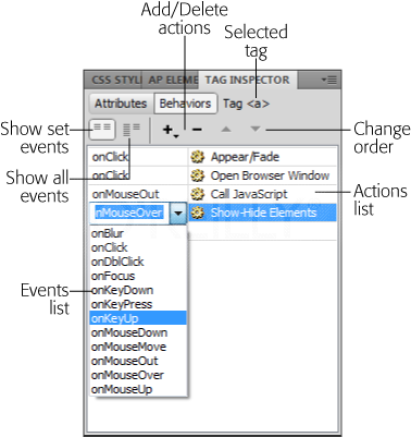 Dreamweaver's Behaviors panel lists all the behaviors you applied to the currently selected HTML tag. Because the same event can trigger multiple actions, Dreamweaver groups the actions by event. In this example, the onClick event for an <a> tag (a hyperlink) triggers two actions. When a visitor clicks this hyperlink, a page element appears or fades away (the Appear/Fade effect), and a new browser window opens. The order in which the behaviors occur is determined by their order in this panel. For instance, when a visitor clicks the link in this example, she sees the Appear/Fade effect first, and then a browser window opens. To change the order of these events, use the up- and down-pointing arrows. To change the type of event, click the event name and select a different event from the pull-down menu. If different events trigger all the actions, the order in which they appear in this panel is irrelevant, since the event itself determines when the action takes place, not the order of the event in this panel.