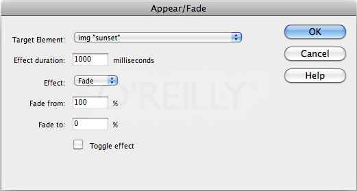 Use the Appear/Fade effect to make an element fade from a page, or have a photograph fade into view on your site's home page.