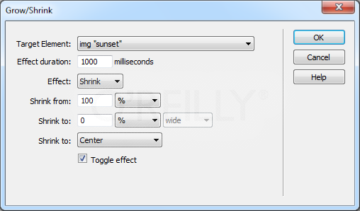 "The ""Grow from"" menu (""Shrink from"" if you selected the Shrink effect) determines the point on the page from which the element begins its growth on its way to achieving its full size. You can either make the element grow from its center or from its top-left corner. The ""center"" option makes the element appear to come straight at you (or recede straight from you when you select Shrink)."
