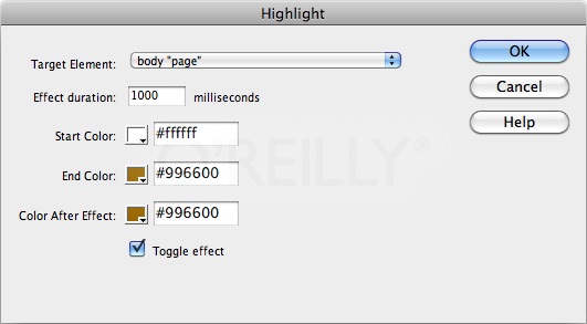 "The ""Toggle effect"" checkbox lets you fade in a background color with a single action (for example, the click of a link) and then fade the background color out when the same event occurs again (when a guest clicks the same link a second time, for instance). But for it to look good, make sure the Color After Effect is the same as the End Color. Otherwise, the second time your visitor triggers the highlight (when he toggles the effect, in other words) the background won't fade smoothly back to the start color."
