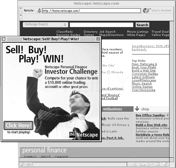 You, too, can annoy your friends, neighbors, and website customers with these unruly pop-up windows. Just add the Open Browser Window action to the <body> tag of your document. Now, when that page loads, a new browser window opens with the ad, announcement, or picture you specify. To be even more annoying, use the onUnload event of the <body> tag to open a new browser window—with the same web page—when your visitors try to exit the page. They won't be able to get to a different page, and may even encounter system crashes. Now that's annoying! Fortunately, most current web browsers prevent these kinds of automatic window-opening tricks, and will only open a new browser window when your visitor clicks a link.