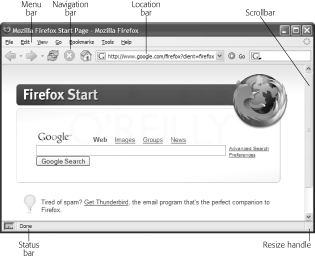 The parts of a browser window. Note: The menu bar only appears as part of the browser window on Windows machines. On Macs, the menu bar appears at the top of the screen and can't be hidden; in addition, the Safari browser won't hide the resize handle or the scroll bars (if they're needed).