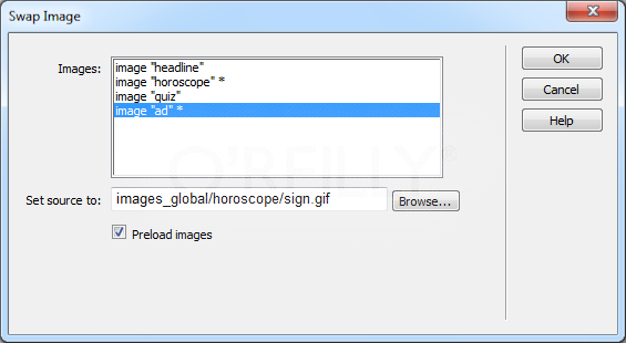 """Some actions, like the Swap Image action, can automatically add behaviors to a web page. In this case, the """"Preload images"""" and """"Restore images onMouseOut"""" options actually add a Swap Image Restore action to the onMouseOut event of the currently selected tag, and a Preload Images action to the onLoad event of the <body> tag."""