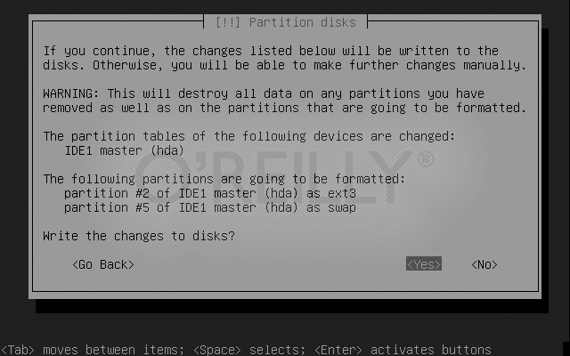 Writing the partition changes to disk