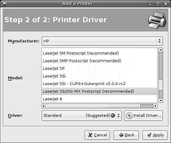 Selecting a printer model