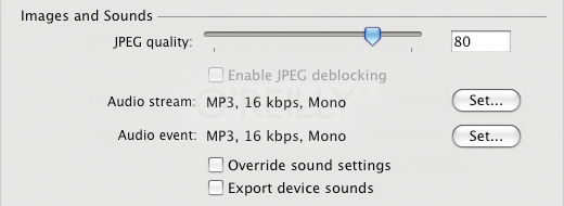 File-wide sound-related publish settings