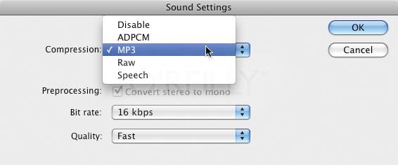 Compression options for internal sounds applied file-wide