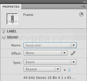 The Sound section of the Properties panel