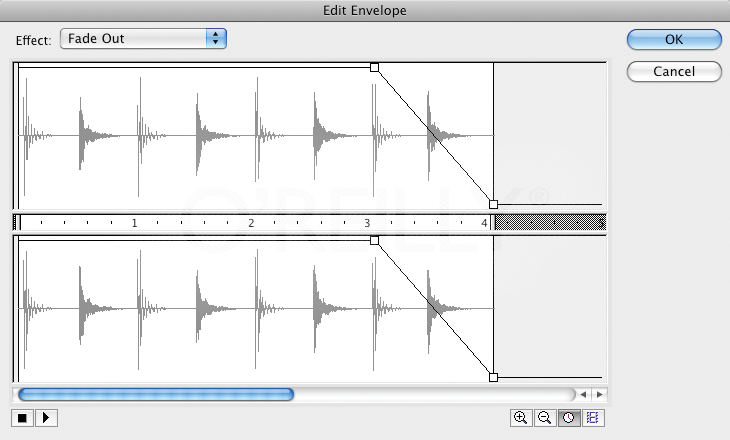 Fading a sound in the Edit Envelope dialog