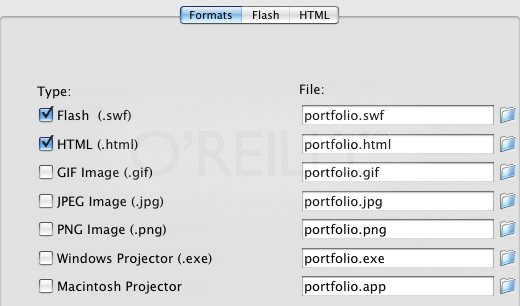 Determining which file   types to publish in the Formats section of Publish Settings