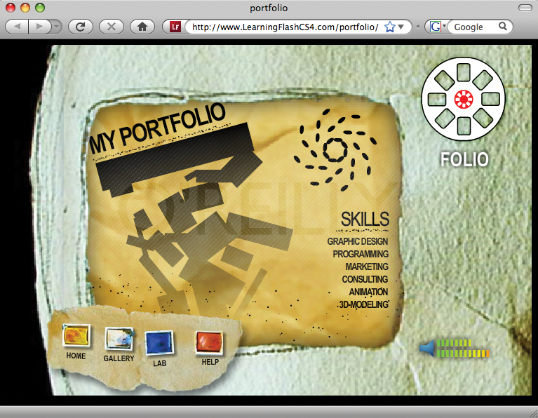 The finished Portfolio project viewed in a browser