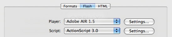 The FLA's publish settings, setting Adobe AIR 1.5 as the target player