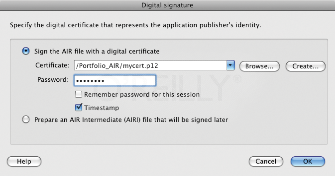 AIR digital signature settings