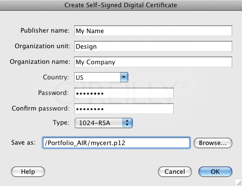 Creating a self-signed digital certificate