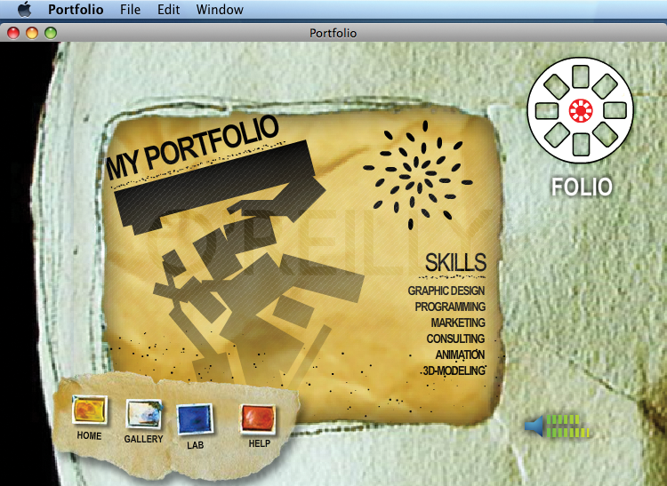 The finished Portfolio Project running as an AIR application