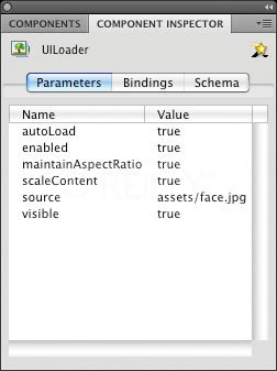 Configuring a UILoader component using the Component Inspector panel