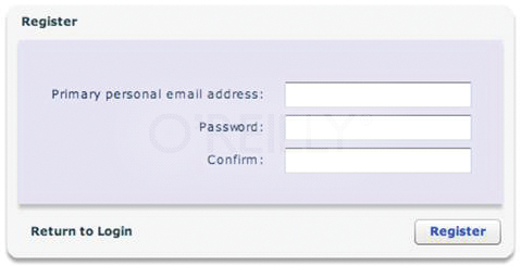 A second view of the registration screen