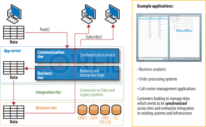 Multiple interaction services being synchronized via one application