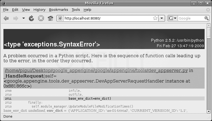 Syntax error