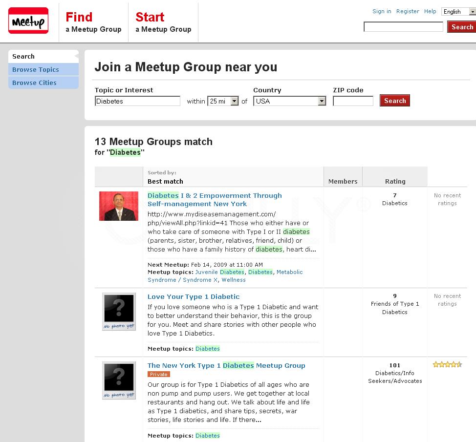 A list of groups hosting events through Meetup.com