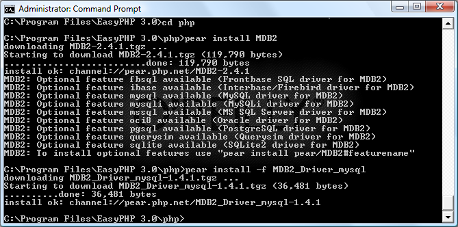 Installing the PEAR MySQL MDB2 driver