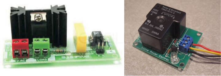 Two shields for working with household currents: the anykit Solid State Relay Switch and the sparkfun Inline Power Control