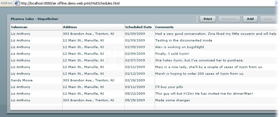 Running VisitSchedules.mxml