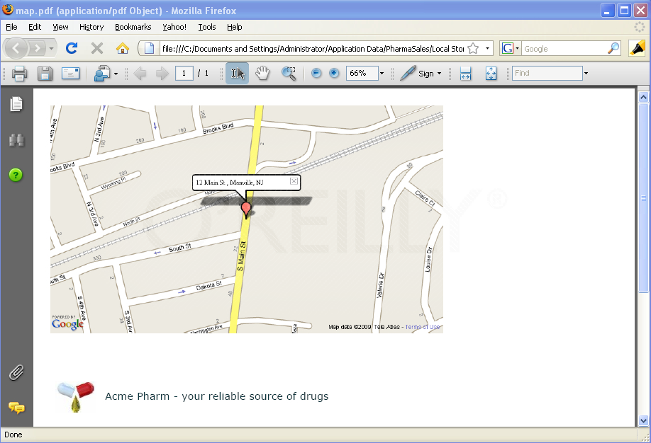 A Google map in a generated PDF