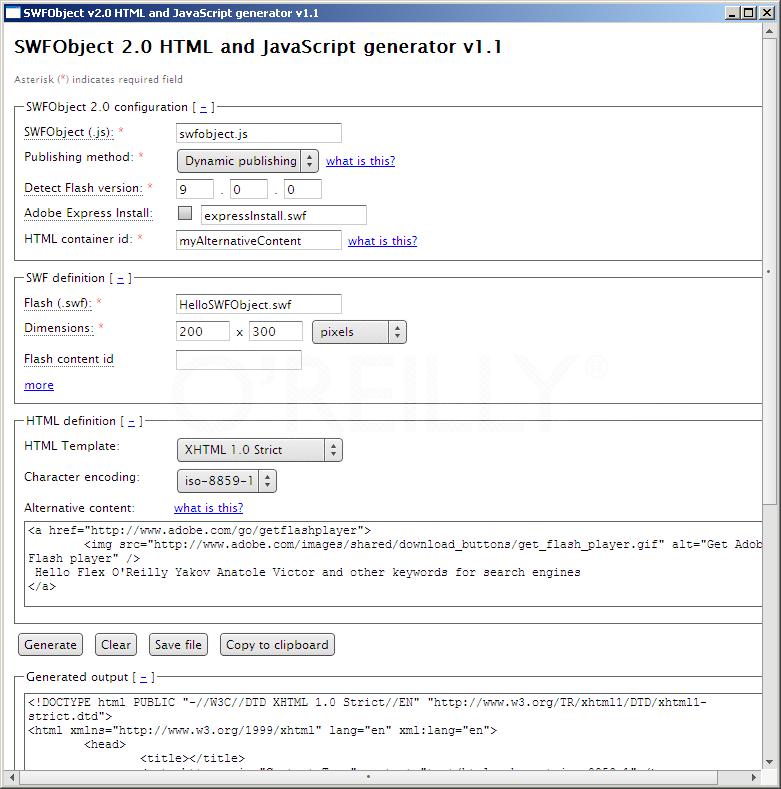 SWFObject's HTML generator