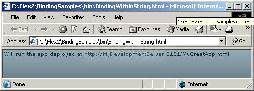 Running the flashVars sample—BindingWithString.mxml