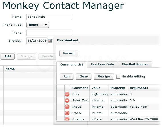 Recording command list in FlexMonkey