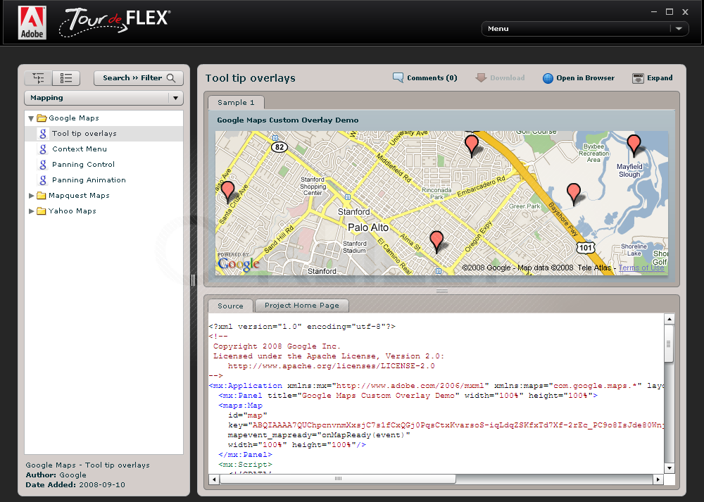Component explorer Tour de Flex